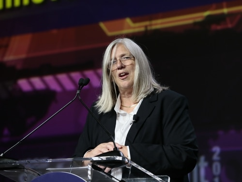 Principal Deputy Director of National Intelligence Sue Gordon speaks at the annual GEOINT 2019 conference in San Antonio. (Photo courtesy of USGIF)