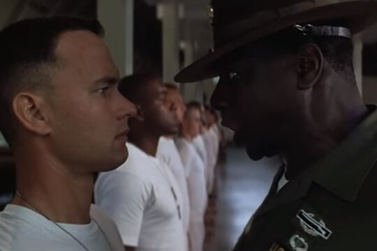 Forest Gump goes through boot camp during the Vietnam War. (Screenshot via YouTube)