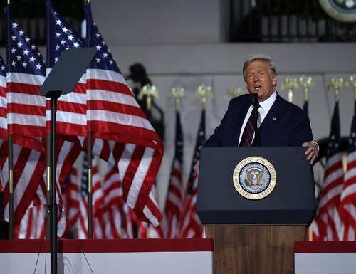 President Donald Trump delivers his acceptance speech for the Republican presidential nomination on the South Lawn of the White House on August 27, 2020. (Chip Somodevilla/Getty Images)