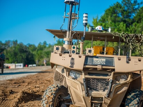 Top leaders from the Army gathered for a Maneuver Robotics and Autonomous Systems Live Fire Demonstration Aug. 22, 2017, at Fort Benning, Ga. (Patrick A. Albright/Army)