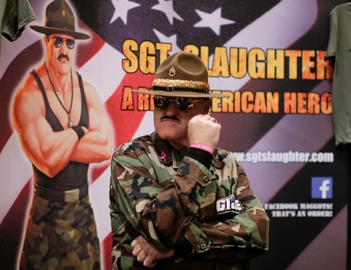 Sgt. Slaughter, also known as Robert Remus, waits to sign autographs for New York Comic Con convention goers in 2015 in New York. (Julie Jacobson/AP)