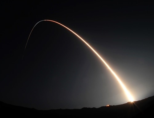 A Minotaur IV rocket is launched Sept. 25, 2010, from Space Launch Complex-8 at Vandenberg Air Force Base, Calif. (Senior Airman Andrew Lee/Air Force)