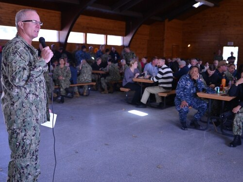 Then-Training Support Center commanding officer Capt. Mark Meskimen addressed staff at the Hispanic Heritage Month Fall Picnic event on Oct. 4. (Brian Walsh/Navy)