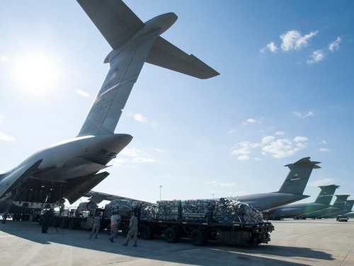 The 59th Medical Wing's medical gear gets loaded onto a C-5 Galaxy at Joint Base San Antonio-Lackland in Texas on Wednesday. More than 70 airmen from the wing arrived in the Houston area to provide medical attention to those affected by the flooding. (Staff Sgt. Kevin Iinuma/Air Force)