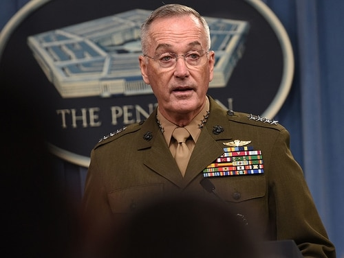 Gen. Joseph F. Dunford, the chairman of the Joint Chiefs of Staff, speaks at a joint press conference with Secretary of Defense James Mattis at the Pentagon on Aug. 28, 2018. (Lisa Ferdinando/DoD)