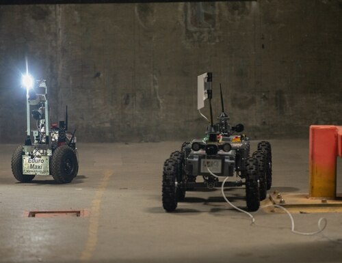 Team Robotika is one of two team to compete in both the physical and the virtual track of the Subterranean Challenge Urban Circuit. (Image courtesy DARPA)