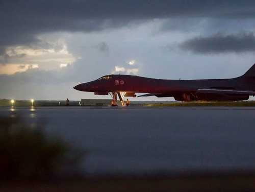 A U.S. Air Force B-1B Lancer, assigned to the 37th Expeditionary Bomb Squadron, deployed from Ellsworth Air Force Base, S.D., prepares to take off from Andersen AFB, Guam, on Saturday, Sept. 23, 2017. (Staff Sgt. Joshua Smoot/Air Force via AP)