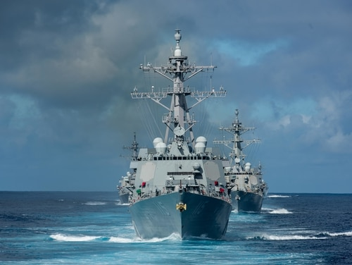 Ships from Destroyer Squadron transit the Pacific Ocean in January. The Trump administration's buildup is paid for by mechanisms that have proven unlikely to materialize, experts told Defense News. (MC3 Nicholas Huynh/U.S. Navy)