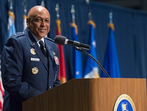 Lt. Gen. Anthony Cotton, Air University commander, gives remarks during the 2018 Air Force Institute of Technology Commencement Ceremony inside the National Museum of the United States Air Force, Dayton, Ohio, March 22, 2018. (Wesley Farnsworth/Air Force)
