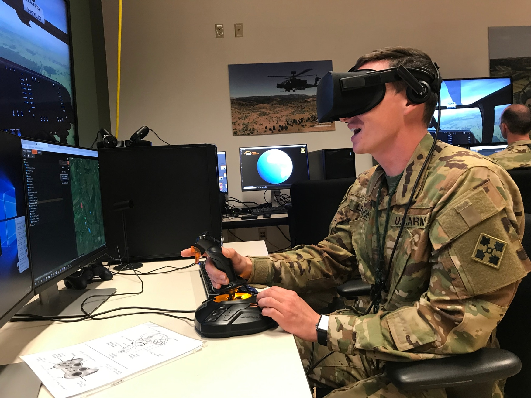 Soldiers at Fort Carson, Colo., tried out a prototype of the Reconfigurable Virtual Collective Trainer—Air, which will be a part of the future synthetic training environment. (U.S. Army)