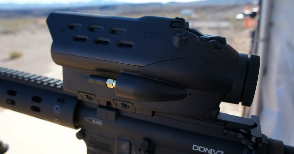 The TrackingPoint optic can calculate the proper trajectory for a round by automatically compensating for a variety of factors, including ballistic drop, pressure, temperature — and even the Coriolis effect. (Photo by Sightline Media Group)