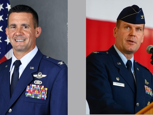 Col. Charles Velino, left, commander of the 47th Flying Training Wing at Laughlin Air Force Base, Texas, was relieved Tuesday for