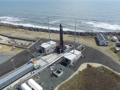 Rocket Lab's Electron launch vehicle rolled out to the Launch Complex 2 pad at the Mid-Atlantic Regional Spaceport in Wallops, Va., where it will launch its first mission from U.S. soil. (Rocket Lab)