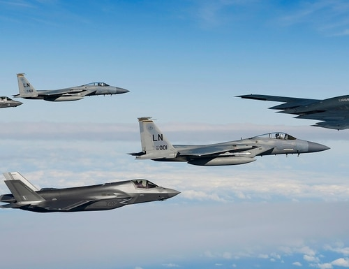 A B-2A Spirit bomber assigned to the 509th Bomb Wing leads a delta formation of two F-15C Eagles with the 48th Fighter Wing and two Royal Air Force F-35B Lightnings over the North Sea Sept. 16, 2019. The 48th Fighter Wing and the Royal Air Force routinely train with integrated fourth- and fifth-generation capabilities to deliver full spectrum air combat support to European allies and partners. (Tech. Sgt. Matthew Plew/Air Force)