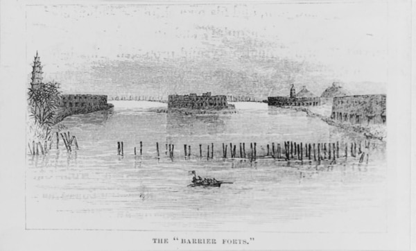 The Barrier Forts below Canton, China, in 1856, from Life of Admiral Foote, page 114. (U.S. Naval History and Heritage Command)