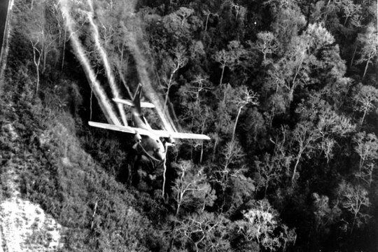 In this May 1966 file photo, a U.S. Air Force C-123 flies low along a South Vietnamese highway spraying defoliants on dense jungle growth beside a road to eliminate ambush sites during the Vietnam War. (Department of Defense)