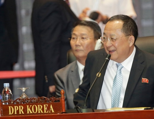 North Korea Foreign Minister Ri Yong Ho, attends the 23rd Asean Regional retreat meeting in Vientiane, Laos, Tuesday, July 26, 2016.(AP photo/Sakchai Lalit)