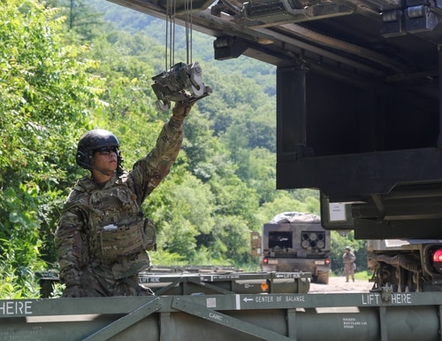 A soldier loads his M270 Multiple Launch Rocket System vehicle during a live-fire training event, June 25, 2019, Republic of Korea. (Sgt. Osvaldo Martinez/Army)