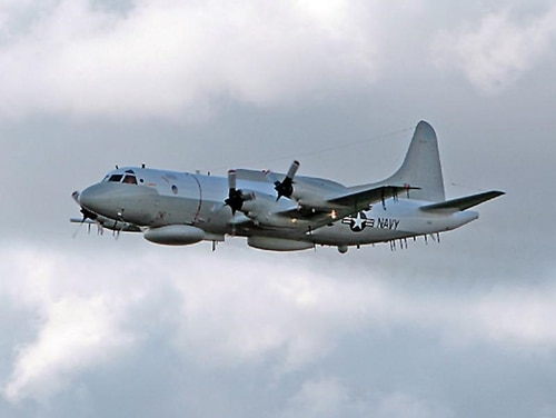 A Russian fighter jet got dangerously close to a U.S. Navy EP-3 Aries reconnaissance plane Monday over the Black Sea, the sea service said. (Navy)