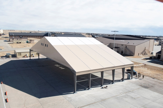 Construction of a B-21 Raider Environmental Protection Shelter prototype is completed at Ellsworth Air Force Base, S.D., Feb. 26, 2021. (U.S. Air Force photo by Airman First Class Quentin Marx)