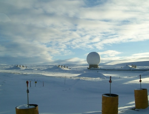 This white golf ball like structure houses one of several radars that scan the skies for foreign military rockets and missiles at Thule Air Base, Greenland. ( JoAnne Castagna/U.S. Army Corps of Engineers)