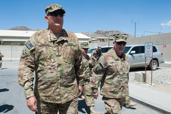 International Joint Command (IJC) Commander, LTG Mark Milley escorts U.S. Army Chief of Staff Gen. Raymond T. Odierno to the flight line to depart to his next destination in Kabul, Afghanistan 6 August 2013. Gen. Odierno met with U.S. Troops and Leadership during his trip to Afghanistan. (U.S. Army photo by Staff Sgt. Steve Cortez/ Released)