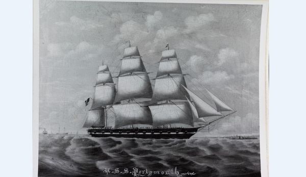 The sloop Portsmouth, a painting by W.R. May (Courtesy of Naval Historical Foundation, U.S. Naval History and Heritage Command)