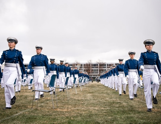 Cadets bound for the Space Force participate in the U.S. Air Force Academy's graduation ceremony in April 2020. (Air Force Falcons Twitter)