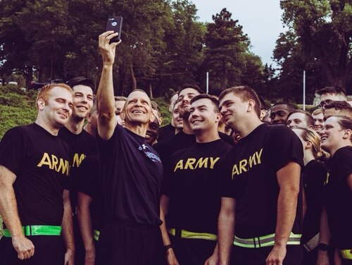 SMA Michael A. Grinston takes a picture with soldiers following a PT session back when he was the senior enlisted leader of Army Forces Command. (Army)