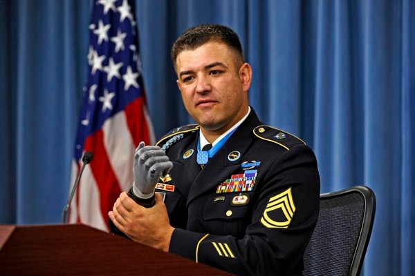 Medal of Honor recipient Leroy Petry distinguished himself by conspicuous gallantry in saving the lives of two fellow Rangers. Petry's right hand was traumatically amputated during the fight and he now uses a state-of-the-art prosthesis. (R. D. Ward/DoD)