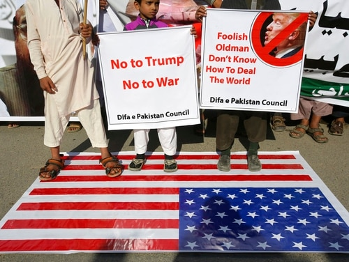 Supporters of Pakistani religious groups rally to condemn a tweet by U.S. President Donald Trump in Karachi, Pakistan, Tuesday, Jan. 2, 2018. (Fareed Khan/AP)
