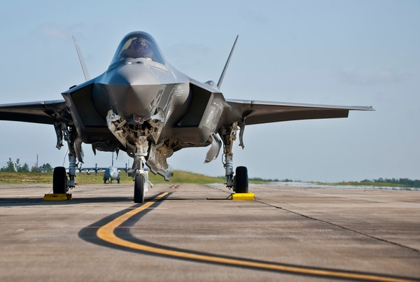 A 33rd Fighter Wing F-35A Lightning II sits on the flightline after its first landing at Duke Field, Fla. The aircraft was there participating in a joint multi-wing major accident response exercise. (U.S. Air Force photo/Tech. Sgt. Sam King)