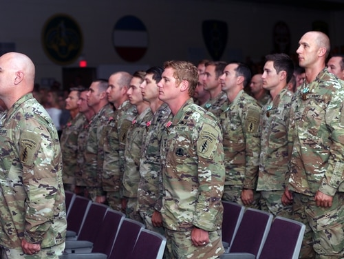 Green Berets of the 10th Special Forces Group received awards for combat action in Afghanistan in a ceremony at Fort Carson, Colorado, Sept. 26, 2019. (Spc. Cole Erickson/Army)