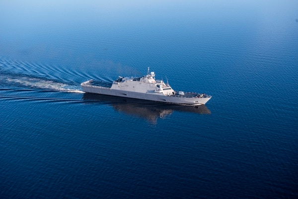 The future USS Sioux City conducted Navy acceptance trials in May on Lake Michigan. (Navy)