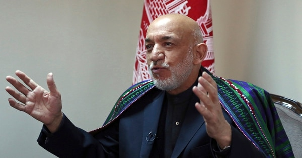 Former Afghan President Hamid Karzai speaks during an interview with The Associated Press in Kabul, Afghanistan, Thursday, Nov. 1, 2018. (Rahmat Gul/AP)