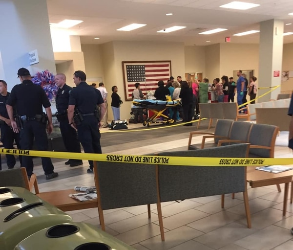 A grisly scene unfolded in the waiting room of a VA medical center in Austin, Texas, when a veteran shot himself in front of hundreds of witnesses. This photo, shared on Reddit by user Diane_Kirkendall, was reportedly taken in the wake of the shooting. (Reddit)