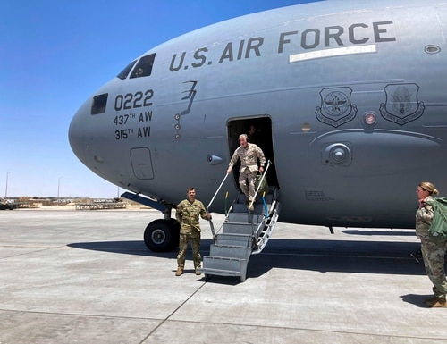 In this May 20, 20201, photo, Marine Gen. Frank McKenzie, the top U.S. commander for the Middle East, arrives in Baghdad. (Lolita C. Baldor/AP)