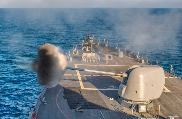 BLACK SEA (Jan. 6, 2018) The forward-deployed guided-missile destroyer Carney fires a Mark 45 5-inch gun during a live-fire exercise while operating in the Black Sea. The Navy is offering perks for sailors onboard FDNF ships like Carney to extend their sea-duty tours to 48 months and beyond. (photo by MC2 James R. Turner/Navy)