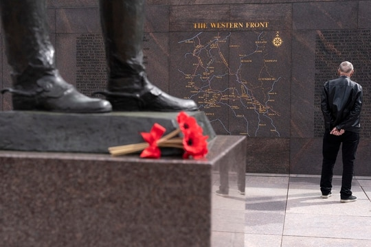 A man visits the newly opened World War I Memorial on April 16, 2021, in Washington. (Jacquelyn Martin/AP)