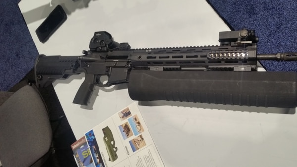 IXI Technology's dronekilling attachment for a standard assault rifle. (Kyle Rempfer/Staff)