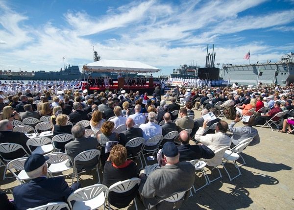 130907-N-XQ474-215 NORFOLK, Va. (Sept. 7, 2013) Distinguished visitors, family and crew members attend the commissioning ceremony of USS Minnesota (SSN 783). Minnesota, the 10th ship of the Virginia class is named in honor of the state's citizens and their continued support to our nation's military. (U.S. Navy photo by Mass Communication Specialist Seaman Andrew Schneider/Released)