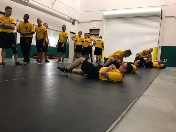 Cadets training at the Pasco County Sheriff's Office Law Enforcement Academy at Pasco Hernando State College in Pasco County, Florida.