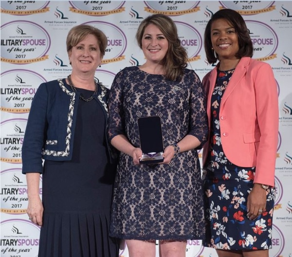 - Brittany Boccher, 2017 Armed Forces Insurance Military Spouse of the Year® (Air Force), with Nancy Wilson, Spouse of Gen. Stephen Wilson, Vice Chief of Staff, U.S. Air Force and Tonya Wright, Spouse of CMSAF Kaleth Wright, Chief Master Sergeant of the U.S. Air Force. (Photo by Steven Barrett)