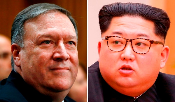 CIA Director Mike Pompeo, left, and North Korean leader Kim Jong Un. CIA Director Mike Pompeo recently traveled to North Korea to meet with leader Kim Jong Un, two U.S. officials said Tuesday, April 17, 2018. (Jacquelyn Martin/AP)