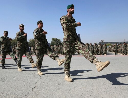 Newly graduated Afghan National Army march during their graduation ceremony after a 3-month training program at the Afghan Military Academy in Kabul, Afghanistan, Sunday, Oct. 13, 2019. (Rahmat Gul/AP)