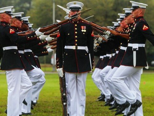 Marines perform during the Battle Colors Ceremony on Marine Corps Air Station Beaufort, South Carolina, March 23, 2015. The Battle Color Detachment is composed of three performing ceremonial units assigned to Marine Barracks Washington. (Cpl. Patrick J. McMahon/Marine Corps)