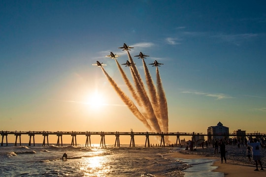 The Blue Angels, the Navy's flight demonstration squadron, conducted the final flight on the F/A-18 A/B/C/D