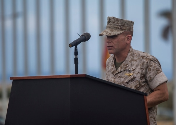 """Brigadier Gen. Joaquin F. Malavet speaks during the Marine Corps Installations Pacific – Marine Corps Base Camp Butler change of command ceremony June 12, aboard Camp Foster Okinawa, Japan. Malavet took command of MCIPAC from Maj. Gen. Charles L. Hudson who will be the new commander of Marine Corps Installations Command, Headquarters Marine Corps, Washington, D.C. Malavet, who previously commanded 1st Marine Expeditionary Brigade and also served as the Deputy Commander for I MEF Camp Pendleton, California, is a naval aviator with almost 30 years' experience as a commissioned officer including deployments to Iraq and Afghanistan and is also a graduate of the Paul H. Nitze School of Advanced International Studies. Malavet has a vast amount of experience with different exercises including joint exercise Pacific Horizon which is a crisis response exercise where 1st MEB takes on a support role similar to that of MCIPAC's mission of supporting III MEF in crisis response situations. Malavet expressed how impressed he was with MCIPAC's mission readiness and how he looks forward to these next few years as commander. """"Most importantly I want to acknowledge and thank the Marines, sailors, civilians; both U.S. and Japanese, who work so hard and diligently with Marine Corps Installations Pacific."""""""