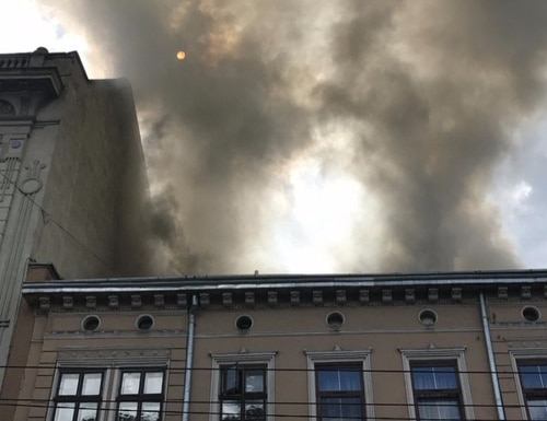 An apartment building was on fire in Lviv, Ukraine on July 16. Soldiers with the Oklahoma Army National Guard's 45th Infantry Brigade Combat Team, deployed to Ukraine in support of the Joint Multinational Training Group-Ukraine, rushed into the burning building and evacuated the third floor before local firefighters arrived on scene.