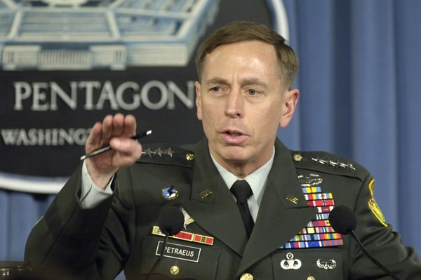 U.S. Army Gen. David Petraeus, the commander of Multi-National Force - Iraq, briefs reporters at the Pentagon April 26, 2007, on his view of the current military situation in Iraq. DoD photo by R.D. Ward. (Released)